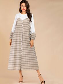 Plaid Contrast Button Front Hidden Pocket Dress