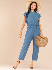 Button Front Ruffle Sleeve Jumpsuit