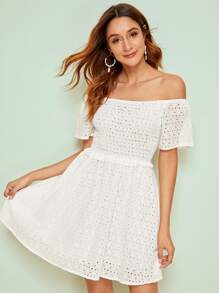 Off-shoulder Eyelet Embroidery Shirred Flare Dress