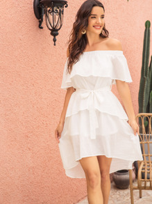 Off-shoulder Ruffle Trim Tiered Layer Dress