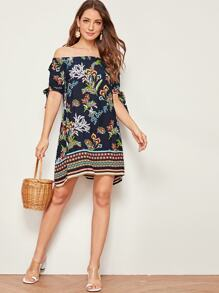 Aztec Print Off The Shoulder Knot Cuff Dress