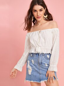 Off-shoulder Fringe Drawstring Schiffy Top