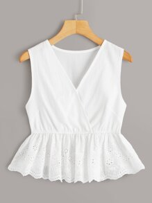 Eyelet Embroidery Surplice Peplum Top