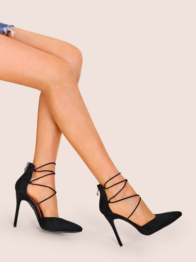 acb3e97b3 Point Toe Zip Black Stiletto Heels