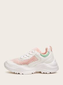 Contrast Mesh Chunky Sole Sneakers