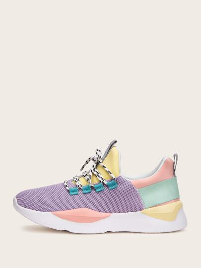 Color-block Lace-up Front Knit Sneakers