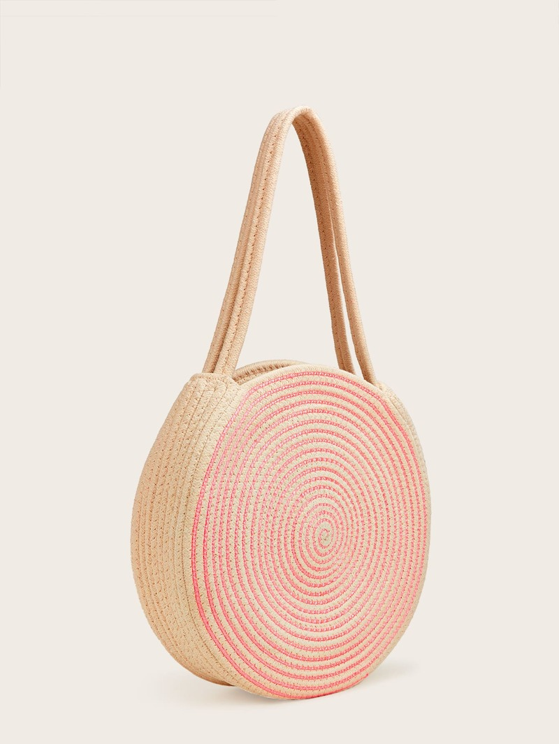 71d5abe42ef Two Tone Round Paper Straw Tote Bag