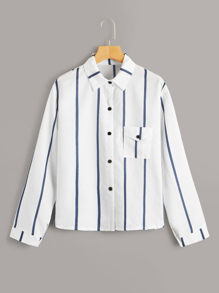 Striped Button Front Pocket Shirt