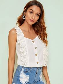 Guipure Lace Trim Button Front Solid Blouse