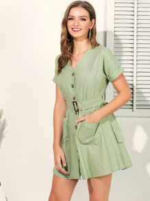 Button Front Dual Pocket Belted Dress
