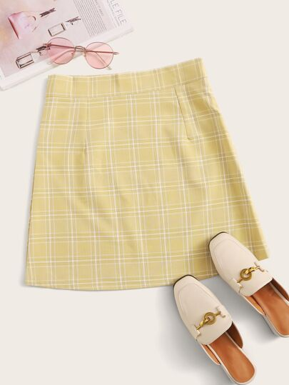 Tartan Plaid Zip Waist A-line Skirt