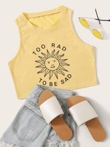 Cartoon Sun & Letter Print Tank Top