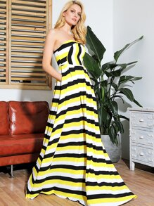 LOVE&LEMONADE Striped Slant Pocket Maxi Tube Dress