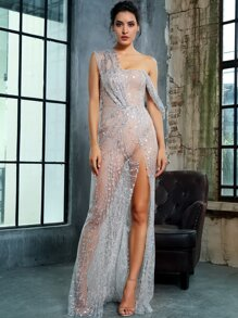 LOVE&LEMONADE Split Thigh Sheer Maxi Sequin Mesh Dress