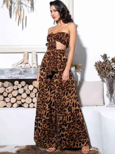3257ee857 LOVE&LEMONADE Leopard Tie Front Tube Top & Wide Leg Pants Set