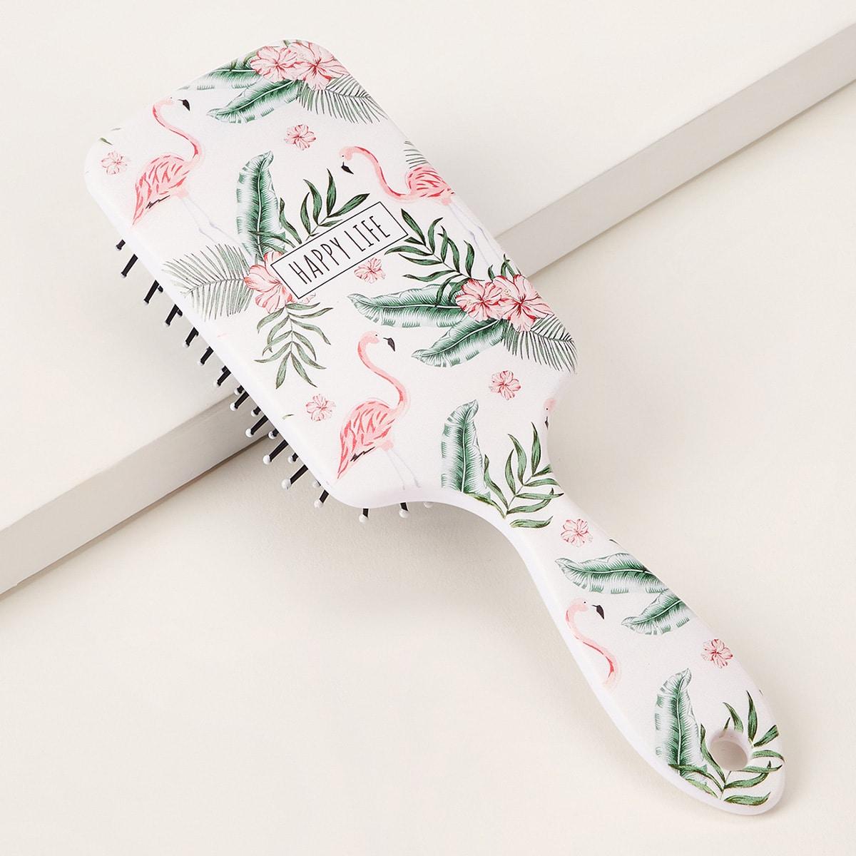 Расческа для волос с узором фламинго