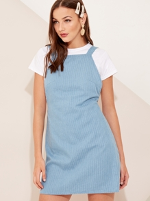 Zip Back Striped Pinafore Dress