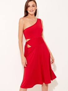 One Shoulder Tie Waist Midi Dress
