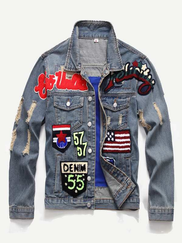 02b6258612 Men Patched & Ripped Detail Denim Jacket | SHEIN IN