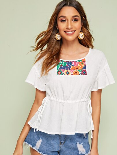 Tribal Embroidery Drawstring Waist Blouse
