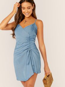 Zip Back Drawstring Front Slip Dress