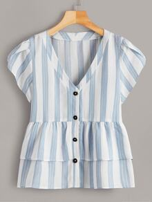 Plus Button Front Striped Ruffle Hem Petal Sleeve Blouse