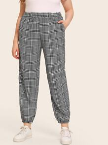 Plus Plaid Ruched Hem Pants