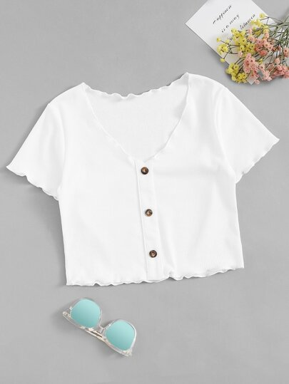Plus Button Front Lettuce Trim Tee