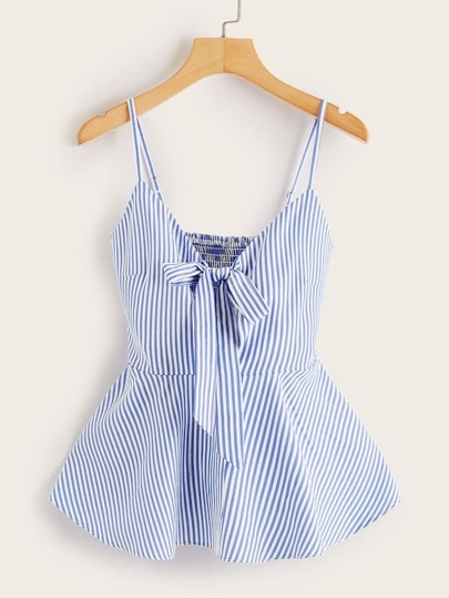 Plus Striped Tie Ruffle Hem Shirred Cami Top