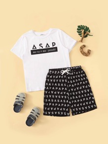 Boys Slogan Print Top and Drawstring Waist Shorts PJ Set