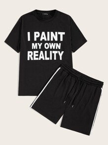Men Slogan Print Top and Drawstring Waist Shorts Set
