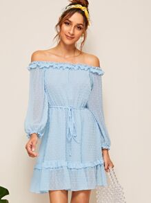 Off Shoulder Frill Trim Swiss Dot Dress