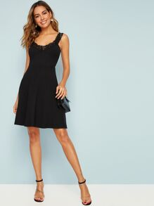 Guipure Lace Trim Fit & Flare Dress