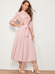Embroidered Eyelet Panel Ruffle Trim Belted Dress