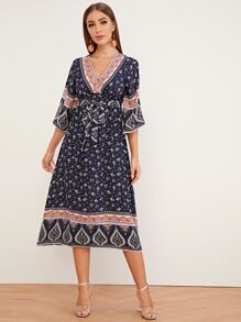 Tribal Print Surplice Neck Self Belted Dress