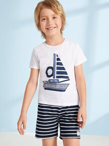 Boys Sailboat Print Top & Patched Striped Shorts PJ Set