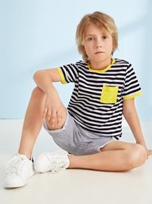 Boys Pocket Patched Striped Ringer Tee