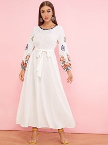 Wave Tape Detail Embroidery Floral Belted Dress