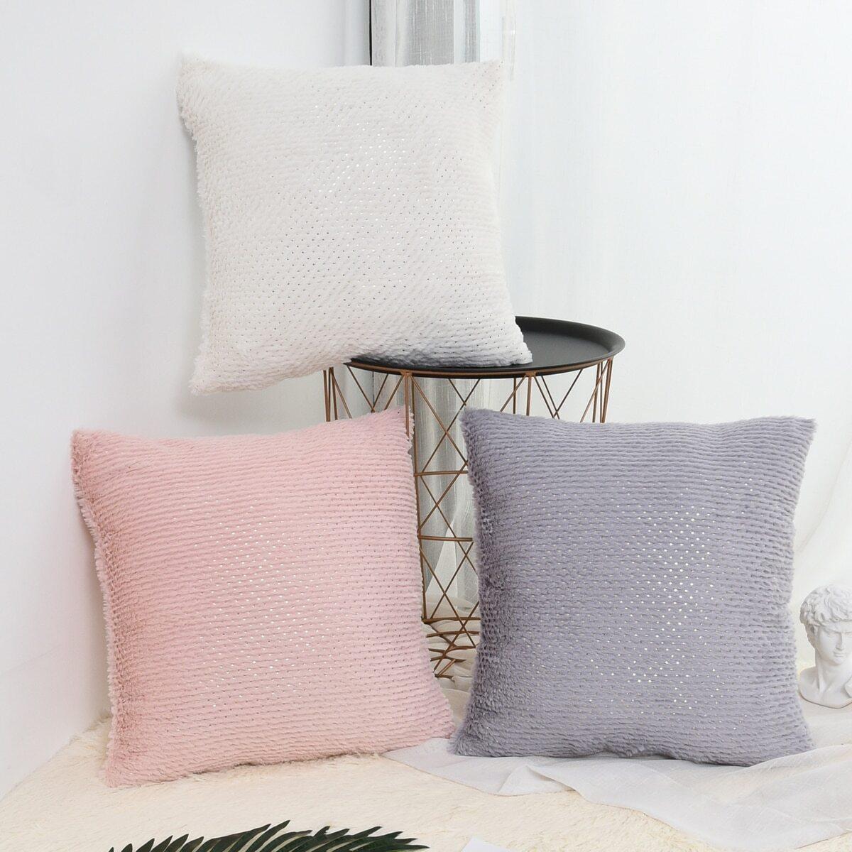 SHEIN coupon: Plain Plush Cushion Cover 1pc