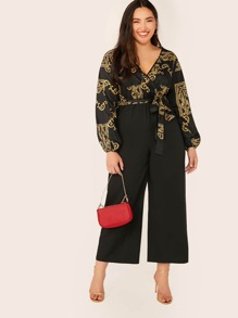 Plus Baroque Print Wrap Belted Cambo Palazzo Jumpsuit