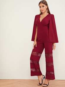 Surplice Neck Lace Insert Wide Leg Cape Jumpsuit