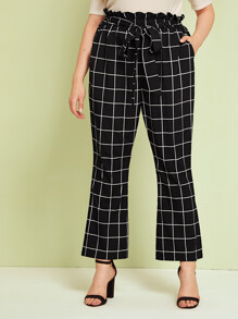 Plus Paperbag Waist Slant Pocket Flare Leg Grid Pants