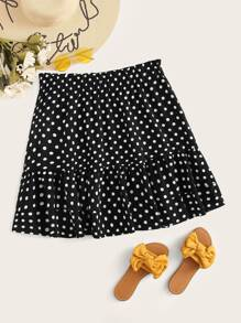 Plus Frill Trim Layered Polka Dot Skirt