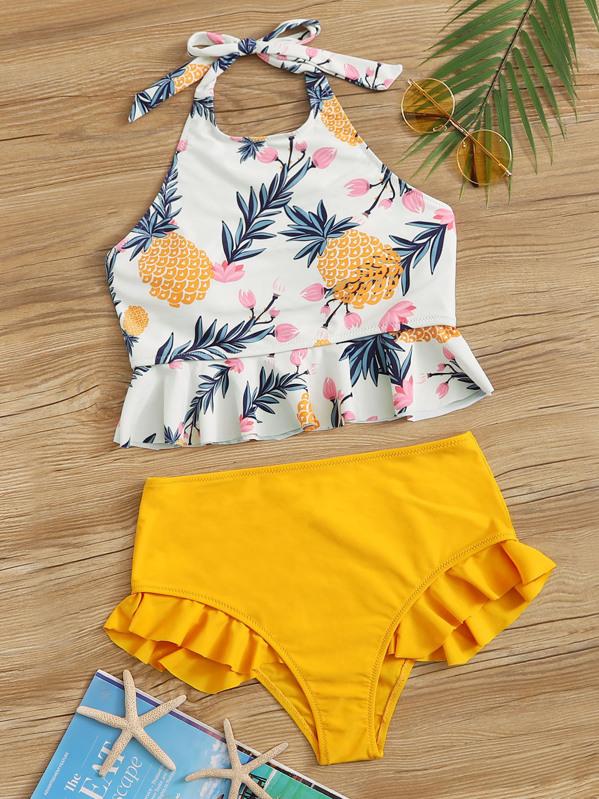 1116172bd8 Pineapple Print Ruffle Hem Halter Bikini Set   SHEIN