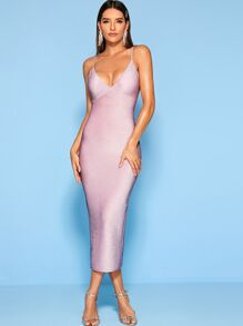 Glitter Gathered Bust Bodycon Cami Dress