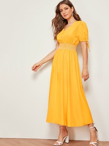 Shirred Covered Button Tie Sleeve Dress