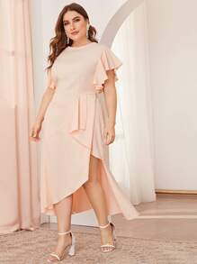 Plus Solid Ruffle Sleeve Asymmetrical Hem Dress