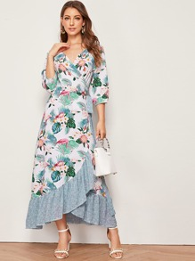 Floral Print Pep Hem Tie Side Wrap Dress