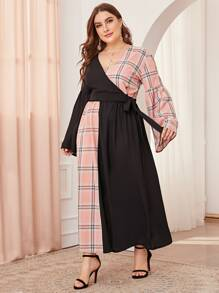 Plus Plaid Contrast Tie Side Wrap Top & Skirt Set