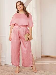 Plus Solid Satin Ruffle Trim Top & Plicated Split Side Pants Set